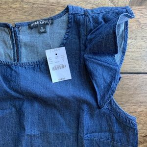 NWT J. Crew Chambray Flutter Sleeve Top